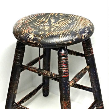 Vintage wooden stool, chippy painted distressed stool, photography prop, funky stool, man cave decor, nursery furniture, art room decor