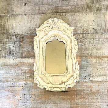 Mirror Wood Mirror Wooden French Country Mirror Ornate Hand Carved Mirror Farmhouse Mirror White Wood Mirror Bedroom Mirror Bathroom Mirror