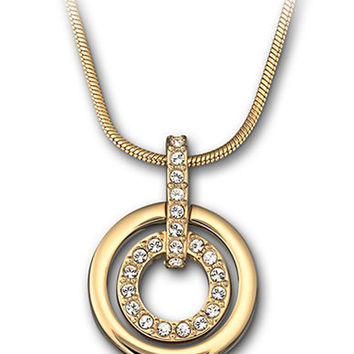 Swarovski Gold Plated and Crystal Circle Pendant Necklace 4dc8f6fe4f