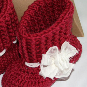 Crochet baby winter ankle booties in cherry red pure merino wool 3 -6 months Shabby chic ivory voile ribbon and flower Gift boxed