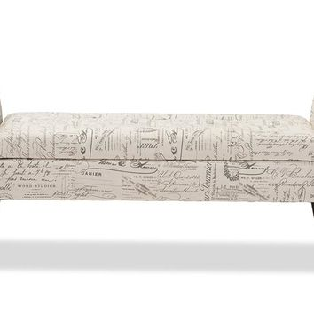 Baxton Studio Avignon Script-Patterned French Laundry Fabric Storage Ottoman Bench Set of 1