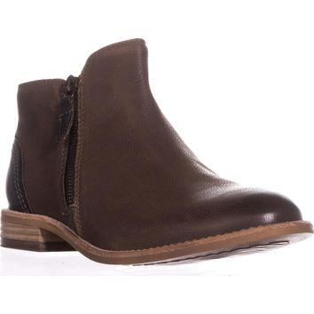 Clarks Maypearl Juno Flat Ankle Boots, Brown, 8 US / 39 EU