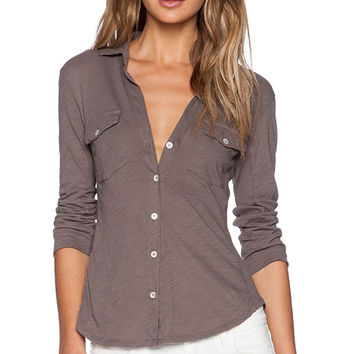 James Perse Contrast Panel Shirt in Gray