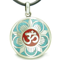 Amulet Ancient OM and Magic Lotus Tibetan Symbol Multicolor Medallion Pendant on Leather Cord Necklace