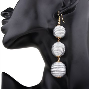 Silver Thread Ball Long Drop Earrings