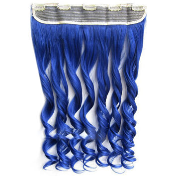 Colorful Straight Hair Extension 5 Clips Wig    Sea Blue# sea blue