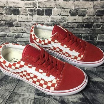ONETOW Vans Authentic Anaheim Old Skool Red And White Squares Low Tops Flats Shoes Canvas Sneakers Sport Shoes