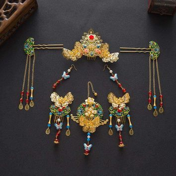 Vintage Chinese Royal Wedding Bridal Jewelry Set with Headpieces and Earrings