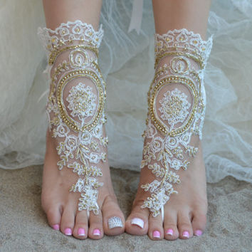 ivory barefoot sandals, iovry shoes, barefoot sandals, Elegant bride, Free ship, wedding shoe, bridesmaid gift, beach shoes, lace sandals