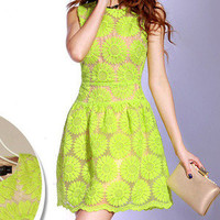 Fresh Green Lace Dress For Lady