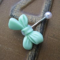 Belly Button Jewelry- Mint Bow Pearl Stud Navel Ring Piercing Bar Barbell Green Seafoam Sea Foam Bellyring