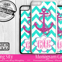 Monogram iPhone 5C 6 Plus Case iPhone 4S 5S Case Ipod 4 5 6 Aqua Hot Pink Anchor Chevron Personalized Cell Phone Case Zig Zag