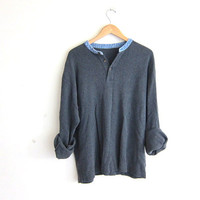 vintage gray long sleeve top. button front henley. minimalist shirt. long underwear shirt with denim collar