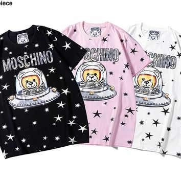 Moschino hot seller of casual couple t-shirts with stylish bear-print short-sleeved tops