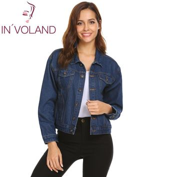 Trendy Loose Women Casual Pocket Single Patchwork Coat Up Breasted Long Washed Button Denim Outdoor Jacket Casual Sleeve AT_94_13
