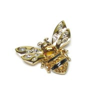 Vintage Gold Bee Pin Bee Brooch Swarovski Crystal Wings Gold Body Signed Swan
