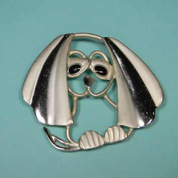 Funny Dog Brooch or Pin, Frosted Gold Tone, Figural, 80s
