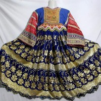 Traditional Afghan Banjara Herdswoman Handmade Velvet Couture Dress