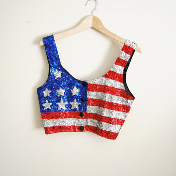 Patriot Love - Vintage Sequin American Flag Crop Top