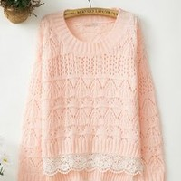 Sweet Lace Nice Pink Sweater
