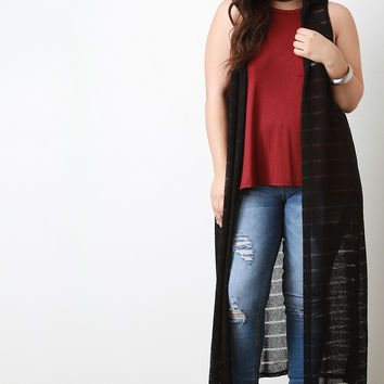 Striped Knit Sleeveless Hooded Maxi Cardigan