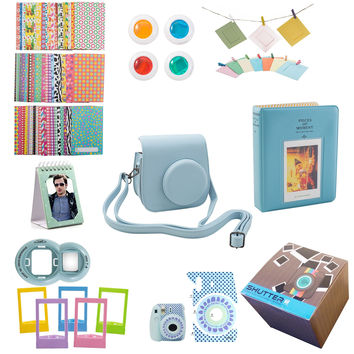11 Piece Gift set Box Fujifilm Instax Mini 8 Accessories Bundle Mini 8 Camera BLUE Accessories Kit Includes Mini 8 Case/2 Albums Selfie Lens 4 Colored Filters/10 Wall Hang Frames60 Stickers & More