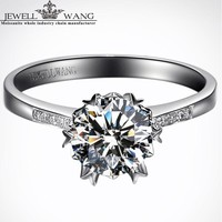 Jewellwang 2.0ct Carat Moissanites Engagement Rings For Women Alps Snow Certified 18k Real White Gold Diamond Side Stone Brand