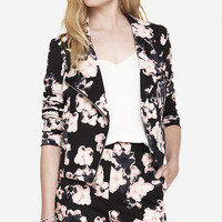 FLORAL SCUBA KNIT MOTO JACKET from EXPRESS