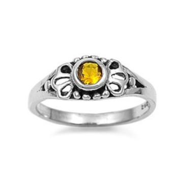 .925 Sterling Silver Yellow Topaz Ring Kids and Ladies Size 1-5 Midi Thumb