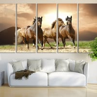 Horse Photography Canvas Print Wall Art / Western Horse Decor Giclee Fine Art Canvas Print Nature Photography Art Galloping Horses Wall Art