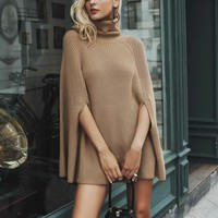 Knitted Turtleneck Oversized Sweater Dress