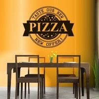 Wall Decal Vinyl Sticker Decals Art Decor Design Pizza interior Pizzeria Resaurant Italy Kitchen Food inscription signboard Fun M1520