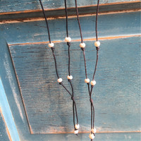 Cord Pearl Necklace