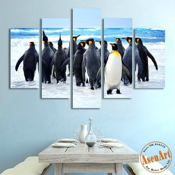 5 Piece Wall Art Penguin Animal Painting Sea Snow Landscape Painting for Living Room Modern Home Decor Canvas Prints Unframed