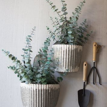 Set Of 2 Distressed Galvanized Wall Planters