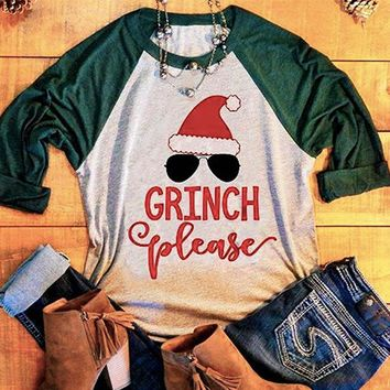 "Woman's ""Grinch Please"" Christmas Three Quarter Sleeve Baseball T-Shirt"