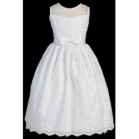 Girls Embroidered Tulle Communion Dress w. Satin Bow 6-12