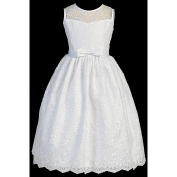 Embroidered Tulle Girls Plus Size Communion Dress w. Satin Bow 12x-18x