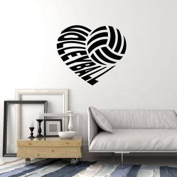Vinyl Wall Decal Volleyball Heart Ball Sports Art Home Interior Stickers Mural (ig5687)