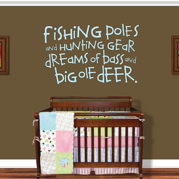 Fishing Wall Decal - Boy Nursery Decor - Nursery Decal - Hunting Fishing Deer Baby - Fishing Poles Wall Decal