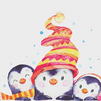 Contemporary Penguins in a Colorful Knit Hats and Scarves Hand Embroidery Pattern