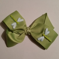 Lime Green Bow with Dragon Flies
