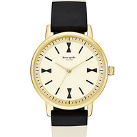 Kate Spade Crosby Bow Silicone Strap Watch Black/White ONE