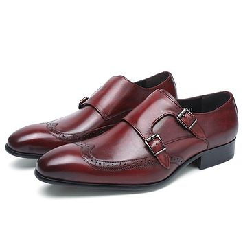 Genuine Leather Pointed Toe Monk Strap Shoes
