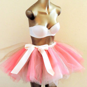 Adult tutu tulle skirt coral champagne gold color tutu bridal bachelorette party tutu engagement tutu outfit photo prop sweet 16 tutu