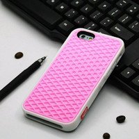 Vans Off The Wall Shoes Sole Soft Rubber Silicone Pink With White Cover Case For iPhone 5 5s