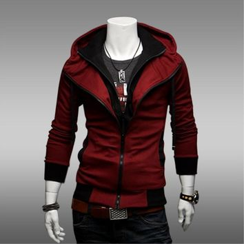 Men  Double Layer Zip Hoodie