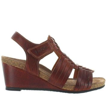 CREYONIG Taos Tradition - Brown Leather Huarache-Style Wedge Sandal