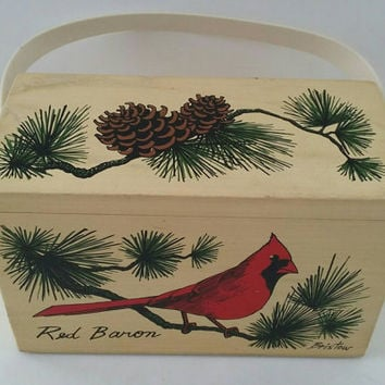 Red Baron Enid Collins Rare Box Purse, Vintage 1960s Box Purse, Enid Collins Original Box Bag, Collins of Texas Bag, Cardinal and Pine Purse