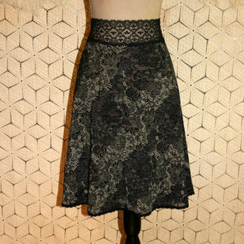 Vintage Black Lace Skirt High Waist Sexy Romantic Goth Edgy Boho Flared Skirt Women Skirts Size 10 Size 12 Medium Large Womens Clothing